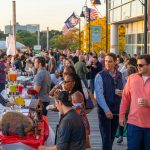 Scenic crowd of people at the Stamford Brew and Whiskey Festival